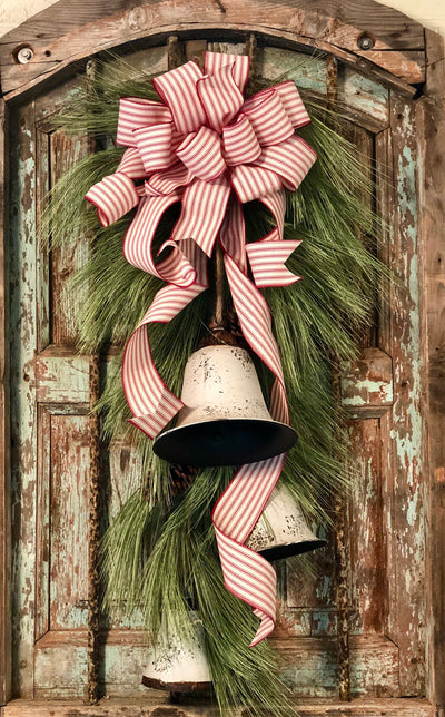 The Opal Red & White Pine Swag With Farmhouse Bells For Front Door~Rustic Winter Swag~Cottage Christmas Swag~Christmas Wreath For Front Door