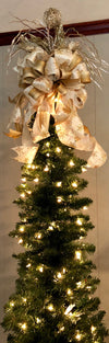 The Trina White & Gold Christmas Tree Topper~Tree topper bow xmas tree~topper bow with long streamers~Large gold bow topper 360 view