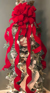 The Carol Red Velvet XL Christmas Tree Topper Bow~Oversize red velvet bow with extra long streamers~ribbon topper~large bow for wreaths
