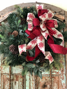 The Rita Cranberry Red & Tan Christmas Tree Topper Bow~bow for wreaths~xmas bow for lanterns~mailbox bow~bow with streamers~swag bow