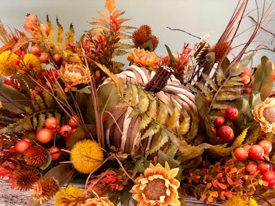 The Alice farmhouse table centerpiece for fall~autumn harvest arrangement in distressed wood box~long dining table centerpiece with pumpkins