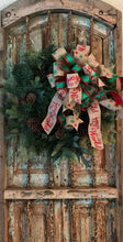 Load image into Gallery viewer, The Joy Red and Green glitter Christmas tree topper bow~bow with long streamers for wreaths~lantern mailbox bow~joy to the world bow