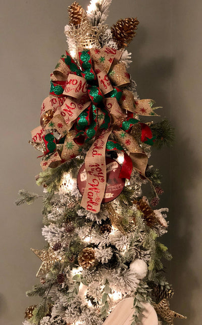 The Joy Red and Green glitter Christmas tree topper bow~bow with long streamers for wreaths~lantern mailbox bow~joy to the world bow