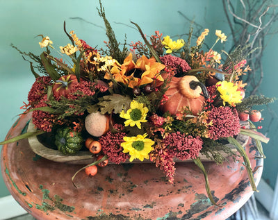The Angie farmhouse table centerpiece for fall~autumn harvest arrangement in wooden bowl~long dining table centerpiece with pumpkins~