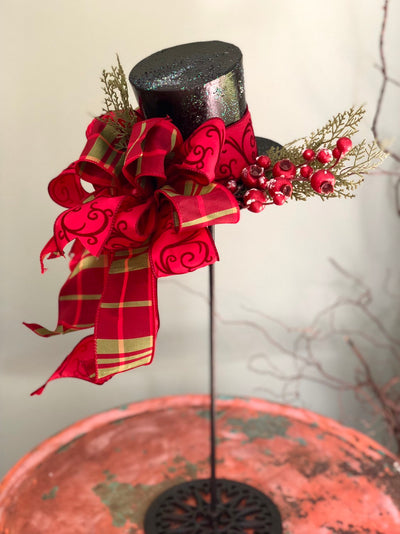 The Helena Red & Green Plaid Tree Topper Top Hat~Christmas tree topper hat~Christmas ornament~Christmas centerpiece