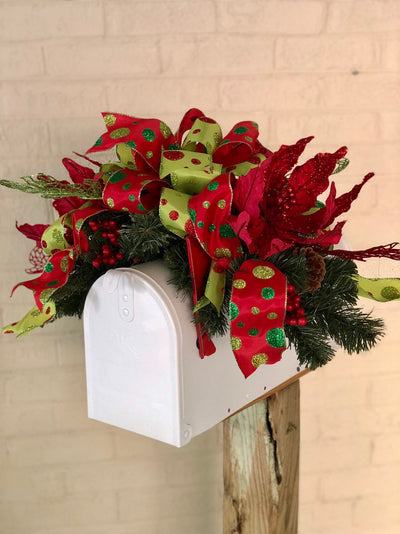 The Lucille Red & Green Christmas Mailbox Swag~Traditional Christmas swag~Window swag~ Whimsical Christmas mailbox swag~Mailbox decor