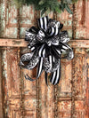 The Beetlejuice Black and White Halloween bow for wreaths or lanterns~Spooky bow~all hallows eve bow~bats and stripes bow