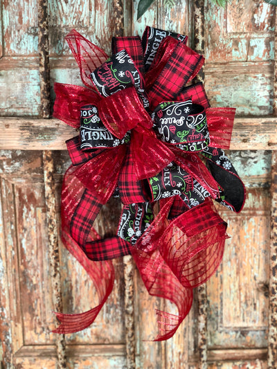 The Holly Red and Black Christmas Tree Topper Bow with long streamers~bow for wreaths~lantern bow~mailbox bow~lamppost bow~swag bow~plaid