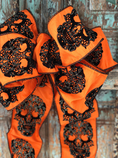 The Bellatrix Orange Velvet With Black Skull Embroidered Halloween Bow For Wreaths~Lantern Bow~skull bow~spooky Bow~Scary Bow~Swag Bow
