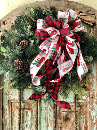 The Crispin Red Black & White Vintage Truck Christmas Tree Topper bow~farmhouse wreath bow~buffalo check lantern bow~rustic bow~country bow