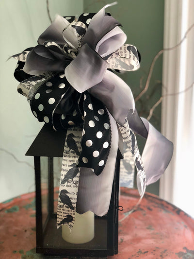 The Raven black and white Halloween Bow for wreaths and lanterns~mailbox bow~swag bow~spooky bow~scary bow~raven bow