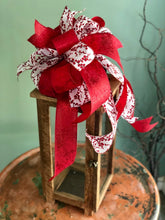 Load image into Gallery viewer, The Cherry Red & White Christmas tree topper bow~bow for wreaths~swag bow~ribbon topper~large lantern bow~bow with streamers~mailbox bow