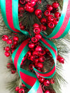 The Magdalena Red & Green Winter Christmas Swag for front Door~Traditional christmas swag~elegant berry swag~wreath for front door
