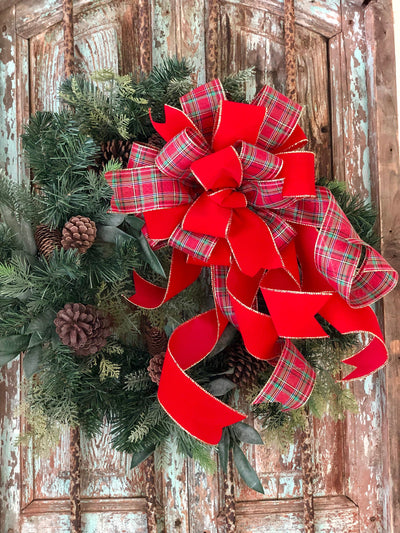 The Maria Red Green And Gold Plaid Christmas Tree Topper Bow~bow for wreaths~lantern bow~long streamer bow~mailbox bow~lamppost bow~xmas bow
