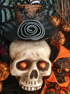 The Bellatrix Orange and Black Halloween wreath for front door~spooky wreath~skull wreath~Skull with top hat and spiderweb wreath