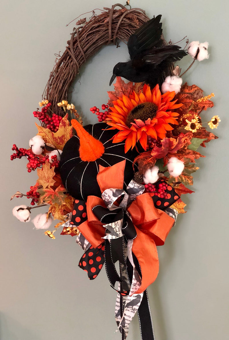 The Coraline Black White & Orange Fall Primitive wreath for front door~Autumn wreath~halloween wreath~pumpkin and crow wreath~farmhouse fall