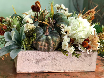 The Alicia Cream and Green Fall Farmhouse Centerpiece For Dining Table~White fall floral arrangement~long rustic harvest arrangement