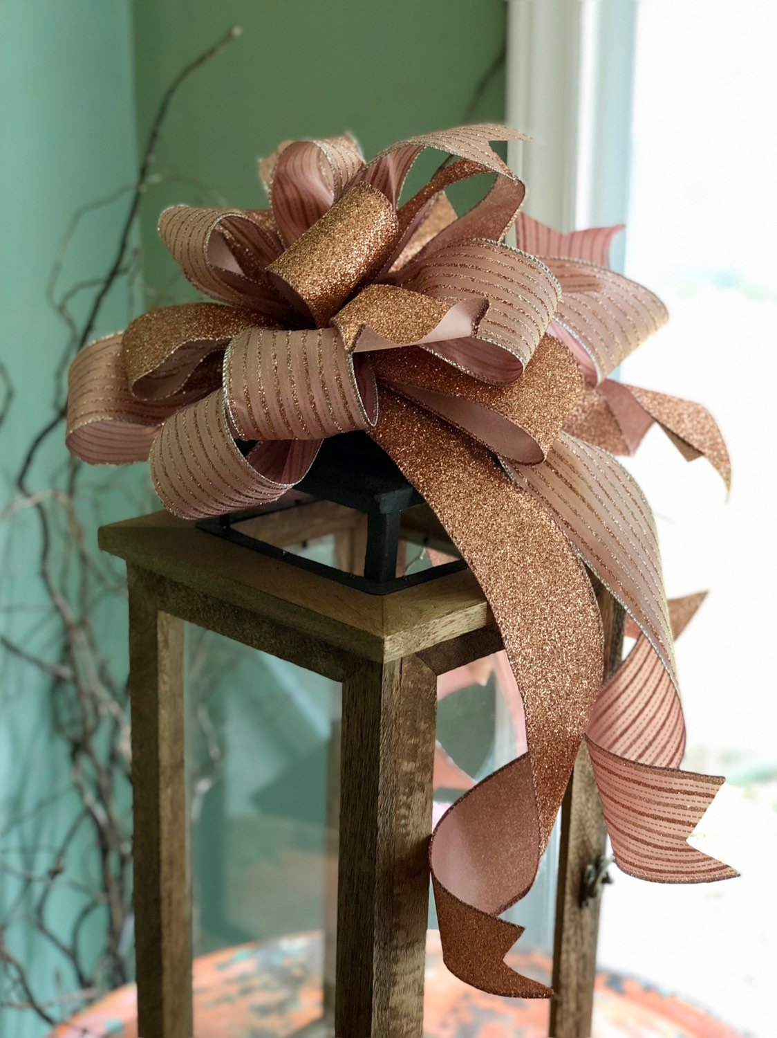 The Rose Pink Gold Christmas Tree Topper Bow Crested Perch
