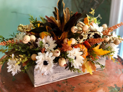 The Adele Rustic Farmhouse Fall Centerpiece For Table~Harvest arrangement~long dining table centerpiece with feathers~pumpkin arrangement