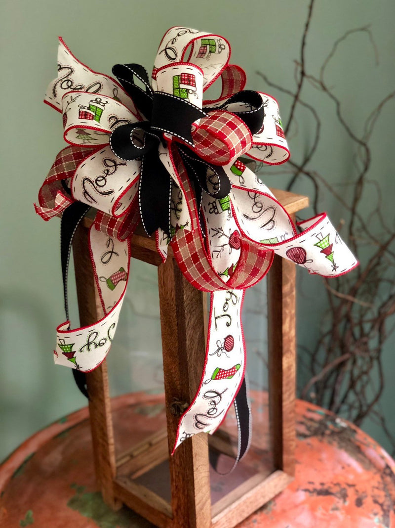 The Kaylie Black Red and White Christmas bow for wreaths~bow with long streamers~mailbox bow~lantern bow~Plaid bow for christmas tree