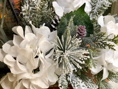 The Marina Farmhouse Christmas Centerpiece For Table~White iced Arrangement with lantern~Winter Cabin centerpiece~Flocked Pine arrangement
