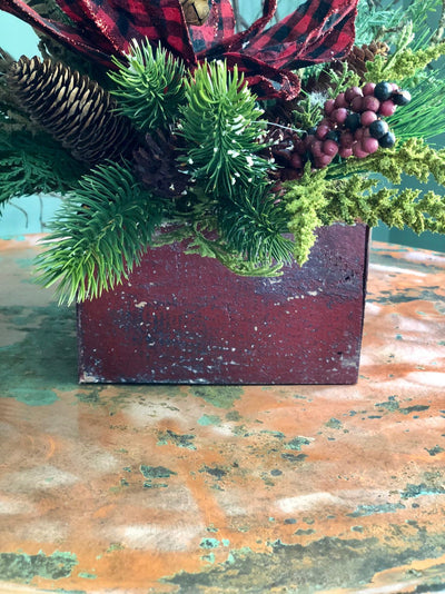 The Ruby Red & Black Buffalo Check Farmhouse Christmas Centerpiece For Table~Rustic Arrangement~Cabin centerpiece~PoinsettiaPine arrangement