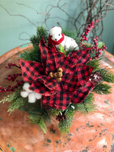 Load image into Gallery viewer, The Jenna Red & Black Buffalo Check Farmhouse Christmas Centerpiece For Table~Rustic Arrangement~Cabincenterpiece~PoinsettiaPinecottonwinter