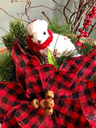 The Jenna Red & Black Buffalo Check Farmhouse Christmas Centerpiece For Table~Rustic Arrangement~Cabincenterpiece~PoinsettiaPinecottonwinter