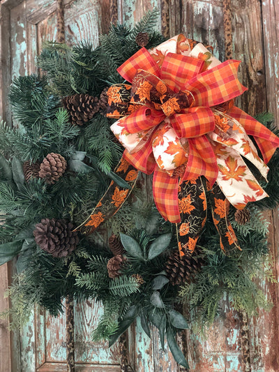 The Lois Gold and Copper Fall Bow For Wreaths~Autumn Lantern Bow~Mailbox bow~rustic farmhouse bow~Harvest bow with fall leaves and streamers