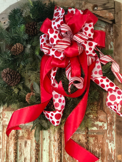 The Callie Red & White Polka Dot Stripe Christmas Tree Topper Bow~Candy Cane bow~Bow for wreaths~Lantern bow~mailbox bow~swag bow~ largeXmas