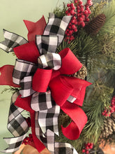 Load image into Gallery viewer, The Courtney Pine Christmas Wreath For Front Door~Farmhouse rustic red and black wreath~berry wreath~all season wreath~buffalo check wreath