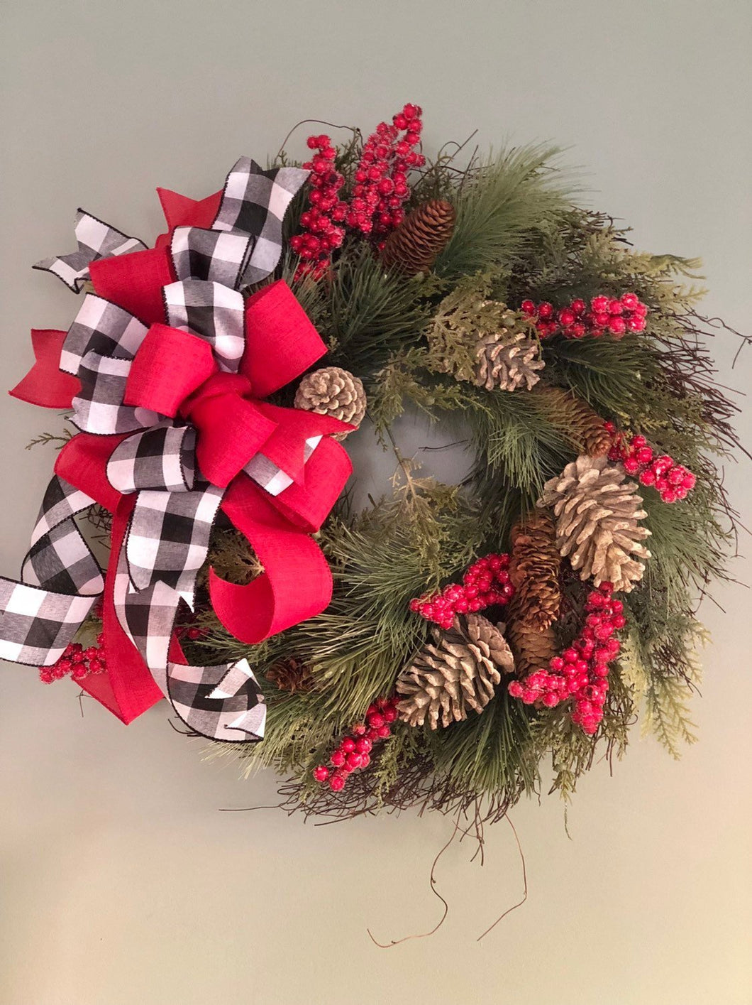 The Courtney Pine Christmas Wreath For Front Door~Farmhouse rustic red and black wreath~berry wreath~all season wreath~buffalo check wreath