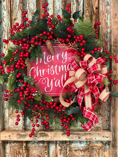 The Althea Pine Merry Christmas Y'all Wreath For Front Door~Farmhouse rustic red wreath~berry wreath~all season wreath~pine and plaid wreath