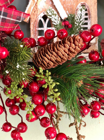 The Kiera Pine & Berry Christmas Wreath For Front Door~Farmhouse rustic red black wreath~berry wreath~all season wreath~church wreath