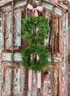 The Felicia Double Cedar Winter Wreath~Chirstmas wreath~Farmhouse rustic wreath~Cabin decor~Farmhouse decor~Red and white stripe wreath