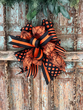 Load image into Gallery viewer, The Evanora Black and Orange Halloween Spiderweb Bow~bow for wreaths~lantern bow~mailbox bow~polka dot bow~spooky bow~creepy bow~spider bow
