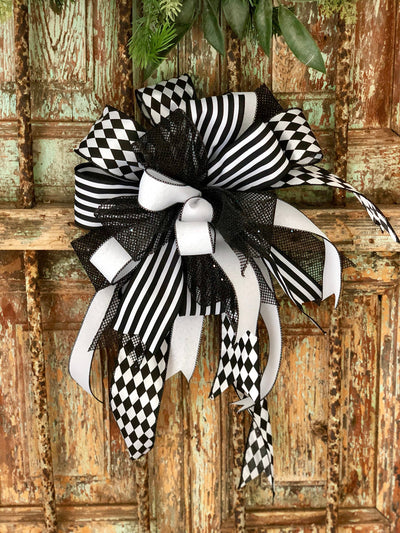 The Jack Skellington black and white bow for wreaths-lantern bow-Halloween bow-mailbox bow-harlequin stripes bow~farmhouse bow