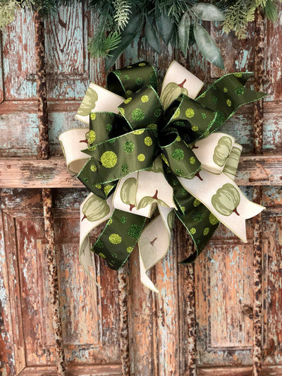 the Ivy Green and Cream Fall Bow For Wreaths~Autumn Lantern Bow~Mailbox bow~rustic farmhouse bow~Harvest bow with pumpkins and polka dots