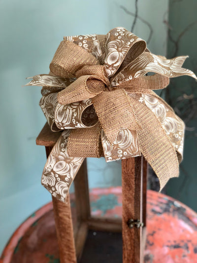the Lucia Gold and Cream Fall Bow For Wreaths~Autumn lantern bow~mailbox bow~Fall glitter pumpkin bow~rustic farmhouse bow