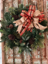 Load image into Gallery viewer, The Edith Copper Gold and Beige Fall Bow For Wreaths~Autumn lantern bow~mailbox bow~Fall plaid bow~rustic farmhouse plaid bow
