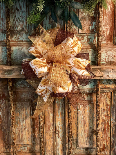 The Matilda Gold Copper Fall Bow For Wreaths~Autumn Lantern Bow~Mailbox bow~rustic farmhouse glam bow~Harvest wheat bow with streamers