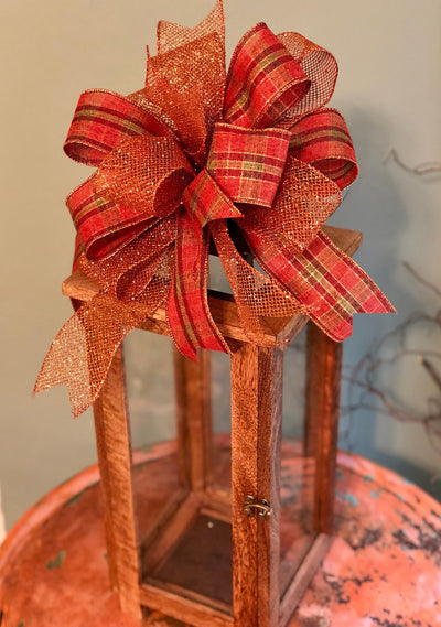 The Leanne Gold Copper Fall Bow For Wreaths~Autumn Lantern Bow~Mailbox bow~rustic farmhouse glam bow~Harvest plaid bow with streamers