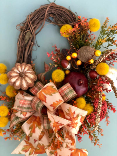 The Gwen Fall Gold Small Wreath for front door~autumn wreath~country wreath~farmhouse wreath fall~wreath with gourds~orange gold yellow