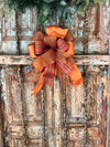 The Molly Copper and Orange Fall Bow For Wreaths~Autumn Lantern Bow~Mailbox bow~rustic farmhouse glam bow~Harvest plaid bow with streamers