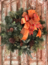 Load image into Gallery viewer, The Molly Copper and Orange Fall Bow For Wreaths~Autumn Lantern Bow~Mailbox bow~rustic farmhouse glam bow~Harvest plaid bow with streamers