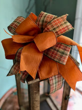 Load image into Gallery viewer, The Morgan Plaid Copper Fall Bow For Wreaths~Autumn Lantern Bow~Mailbox bow~rustic farmhouse glam bow~Harvest bow with streamers