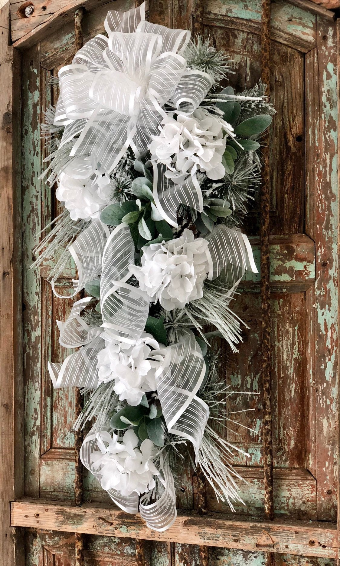 The Lynda White Snow Flocked Christmas Swag~White hydrangea winter swag for front door~white christmas wreath, wedding swag, elegant swag