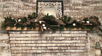 The Christian Rustic Farmhouse Fall & Winter Garland For Mantle~Christmas Garland~Staircase Garland~over door garland~farmhouse decor