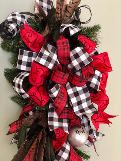 The Aurelia Red & Black Buffalo Check Christmas Swag For Front Door~Farmhouse swag~rustic cabin swag~winter swag~elegant swag~feather swag