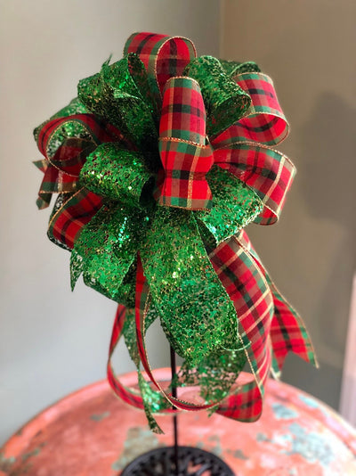 The Francine Red Green & Gold Plaid Christmas Tree Topper Bow~Traditional Christmas bow for wreaths~mailbox bow~lantern bow~swag bow